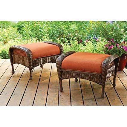 Amazon Com Better Homes Gardens Outdoor Ottomans Set Of 2 In