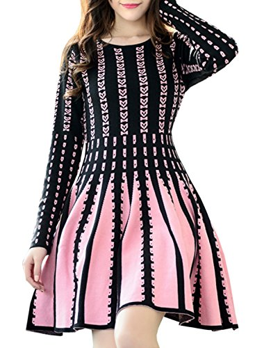 Azbro Women's Casual Long Sleeve A-line Pleated Knitted Fit Flare Dress, Multicolored M