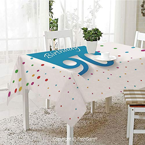 FashSam 3D Print Table Cloths Cover Stylized Framework with Hand Writing Ninety Years Old Polka Dots Waterproof Stain Resistant Table Toppers(W55 xL72) ()