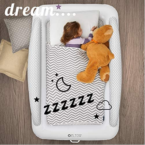 Eltow Inflatable Toddler Air Mattress Bed With Safety Bumper - Portable, Modern Travel Bed, Cot for Toddlers - Perfect For Travel, Camping - Removable Mattress, High Speed Pump and Travel Bag Included 6