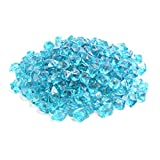 "Mr.Fireglass 1/2"" Polygon Fire Glass for Natural or Propane Fire Pit,Fireplace and Fire Table,10 lb,Aqua Blue"