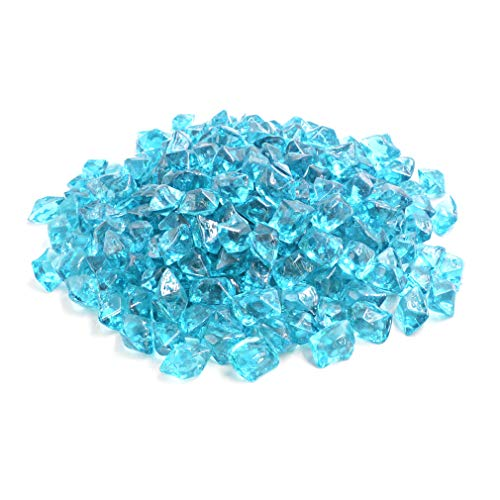 "Mr.Fireglass 1/2"" Polygon Fire Glass for Natural or Propane Fire Pit,Fireplace and Fire Table,10 lb,Aqua Blue by Mr.Fireglass"