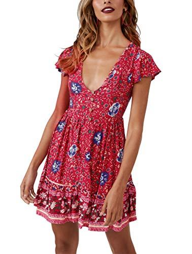 (YIBOCK Women's Summer Short Sleeve V Neck Button Ruffle Swing Mini Dress)