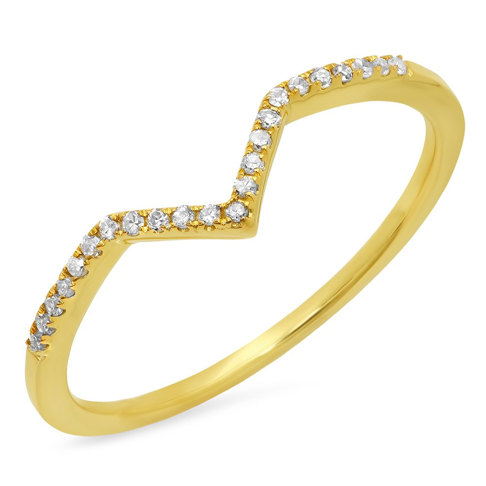 Dazzlingrock Collection 0.10 Carat (ctw) 10K Round Diamond Wedding Stackable Guard Chevron Ring 1/10 CT, Yellow Gold, Size 8