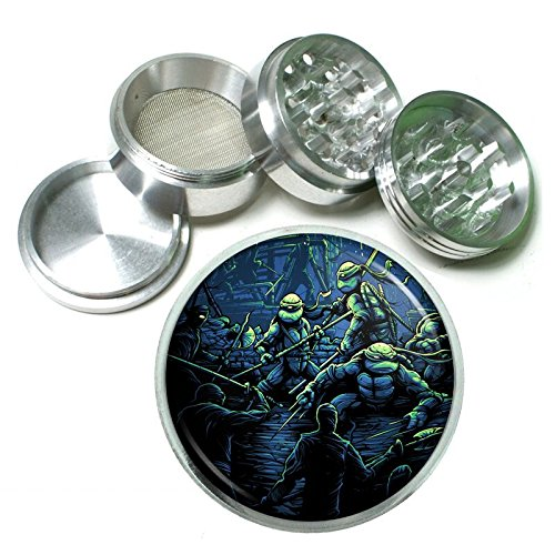 Turtle Warrior Em1 Silver Chrome 63mm Aluminum Magnetic Metal Herb Grinder 4 Piece Hand Muller Spices & Herb Heavy Duty 2.5