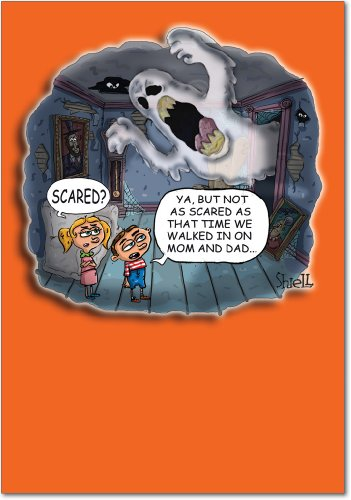 (3093 Scared Mom Dad Unique Funny Halloween Card with)
