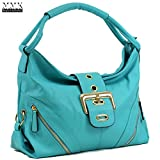 MMK collection Women Fashion Shoulder Backpack (6331)~Designer Purse Hobo bag for Women ~Multi Pocket Backpack~ Beautiful Designer Shoulder bag (02-8262-Turquoise)