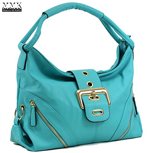 MMK collection Women Fashion Shoulder Backpack (6331)~Designer Purse Hobo bag for Women ~Multi Pocket Backpack~ Beautiful Designer Shoulder bag (02-8262-Turquoise) by Marco M. Kelly