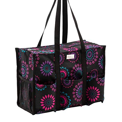 Pursetti Zip-Top Organizing Utility Tote Bag with Multiple Exterior & Interior Pockets for Working Women