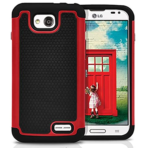 LG Optimus L90 Case, MagicMobile [Dual Armor Series] Rugged Impact Resistant Case LG Optimus L90 Slim Cover Shockproof Silicone Skin Hard Plastic Shell [Red] Armor Protective Case for LG Optimus (Covers Lg Optimus L90)