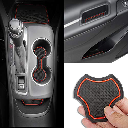Auovo Anti dust Mats for Chevrolet Chevy Equinox 2018 2019 Interior Accessories Custom Fit Door Pocket Liners Cup Holder Pads Console Mats(14pcs/Set) (red)