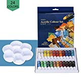 Acrylic Paint Set - VANZAVANZU 24 Colors Artist Quality Art Paints with A Reinforced Palette, 24 x 12ml Tubes, Perfect for Canvas, Wood, Clay, Fabric, Nail Art, Ceramic, Crafts & More (24 Cols)