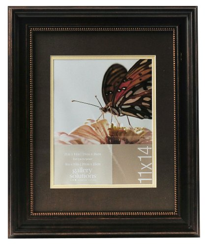 Gallery Solutions 11x14 Distressed Bronze Beaded Wall Frame with Double Mat for 8x10 Image