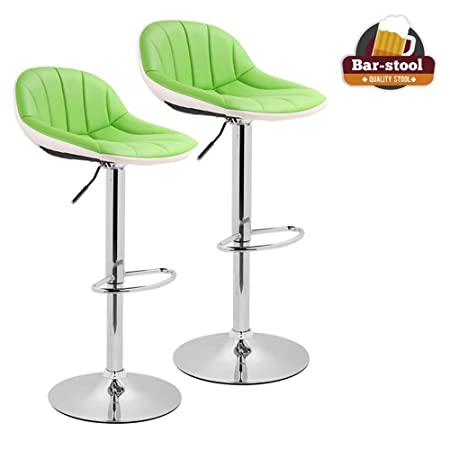 Adjustable Swivel Barstools with Back for Home Bar Kitchen Counter, New Modern Green and White PU Leather Hydraulic Bar Chair-Set of 2, Hold Up to 350lb