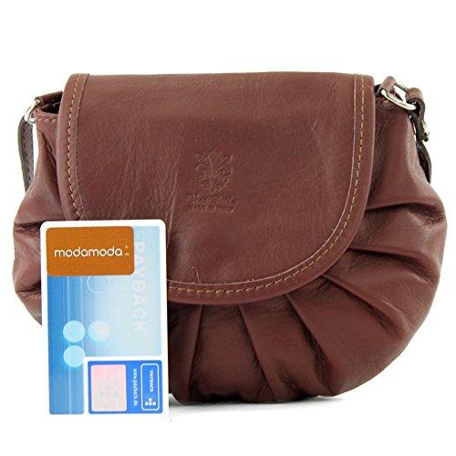 ModaModa–Italiana. Bolso de City de piel Girl pequeño para mujer piel de napa para mini T129 marrón