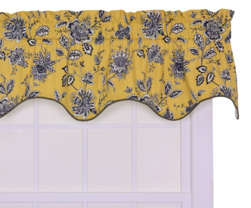 Jeanette Lined Duchess Filler 50 Curtain Valance, Yellow