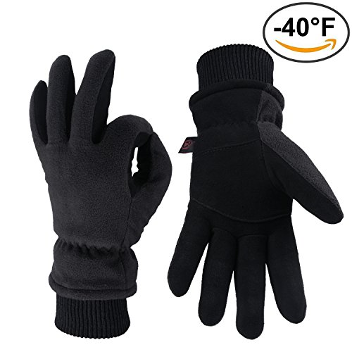OZERO Winter Gloves, -40°F Cold Proof Snow Work Ski Glove with Elastic Cuff - Deerskin Suede Leather Palm and Warm Polar Fleece Back with Heatlok Insulated Cotton & Waterproof TPU - Denim/Tan/Gray