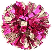 PUZINE 2pack Cheerleading Metallic Foil & Plastic Ring Pom Poms Pack of 2(80g) (Pink with Sil