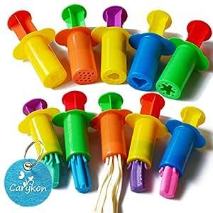 Carykon Dough Extruders Set Assorted Designs, Set of 10, 5 Patterns - Random Colors