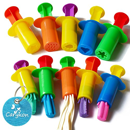 Carykon Dough Extruders Set Assorted Designs, Set of 10, 5 Patterns - Random Colors