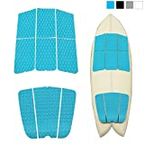 Abahub 9 Piece Surf Deck Traction Pad Premium EVA with Tail Kicker 3M Adhesive for Longboard Blue