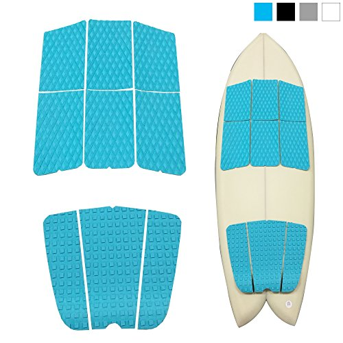 ABAHUB 9 Piece Surf Deck Traction Pad Premium EVA with Tail Kicker 3M Adhesive for Longboard Blue ()