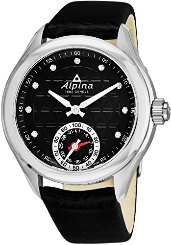 Alpina Horological Smartwatch Womens Fitness Watch - 39mm Black Face Swiss Quartz Diamond Running Watch - Black Satin Leather Band Water Resistant Sleep Monitor Activity Tracker For Women AL-285BTD3C6 (Zone Black Face Band Metal)