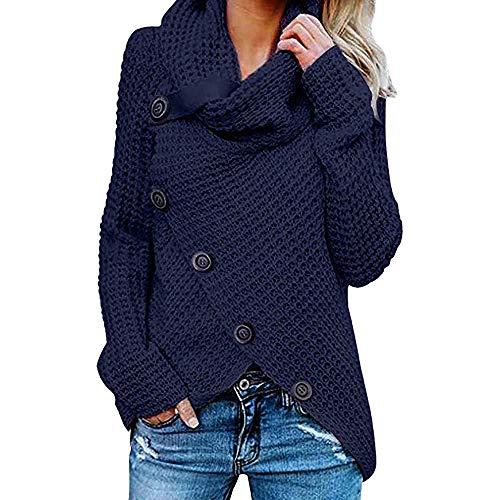 Women's Turtle Cowl Neck Asymmetric Hem Wrap Pullover Chunky Button Knit Sweater Dark Blue 5XL (Kitchener Christmas Lord)