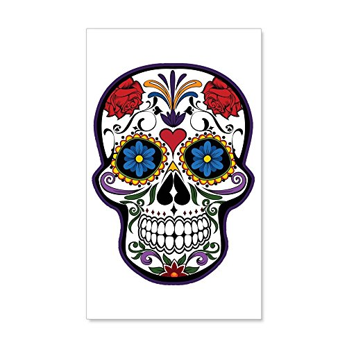 35 x 21 Wall Vinyl Sticker Floral Sugar Skull Day of the (Latina Halloween Makeup)