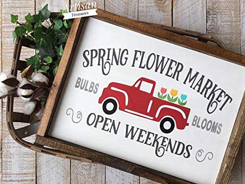 Amazon.com: Spring Flower Market Wood Sign, Chevy Truck