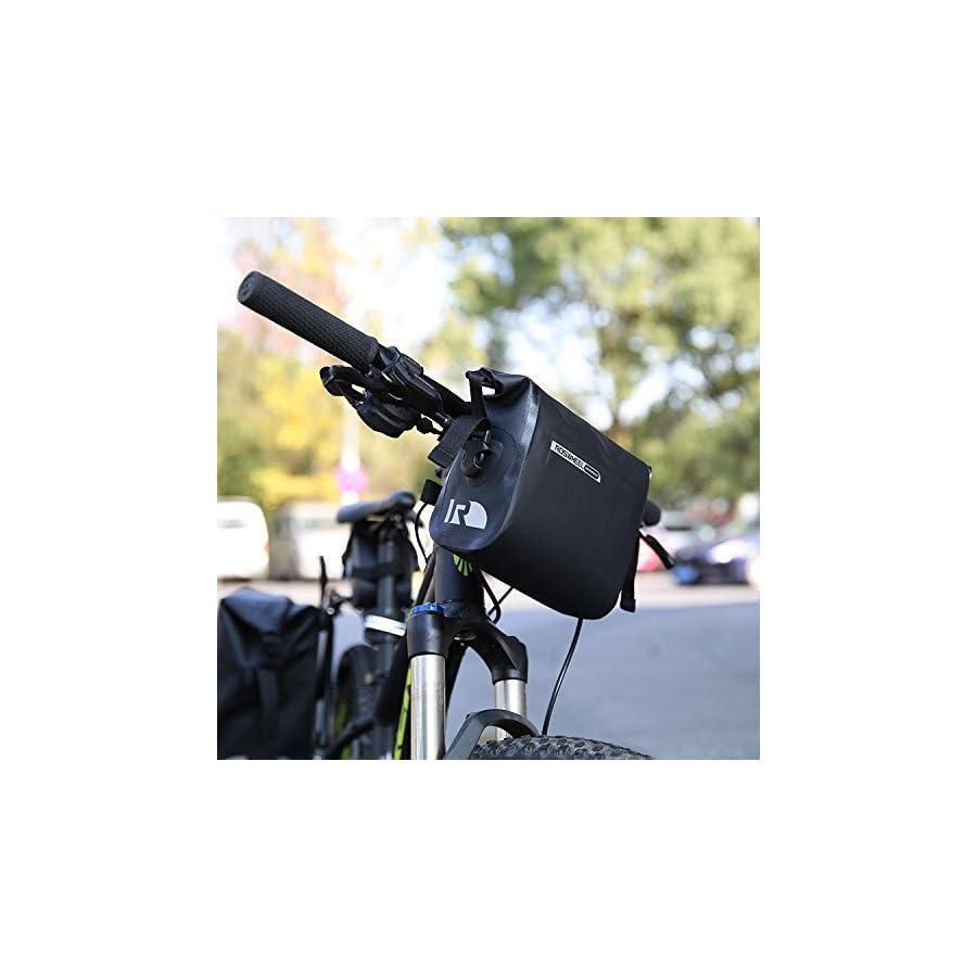 OUTON 2 in 1 Waterproof Bicycle Handlebar Bag & Shoulder Bag, Adjustable 2.5L 3L, Cycling Bike MTB Quick Release Front Basket Frame Pouch PVC Tube Bag Roll Top Front Pannier Bag