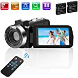 Video Camera Camcorder Comkes Digital vlogging Camera for YouTube Full HD 1080P 30FPS 30.0MP 18X Digital Zoom Camcorder with 2 Batteries and Remote Control