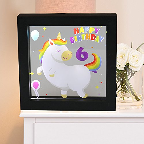 Obrecis Light Up Unicorn and Rainbow Picture Frame, Unicorn Sign Night Lights for Party Supplies Home Table Wall Decoration, Great Birthday Gift Present for Girls and Boys Age 6 Years Old