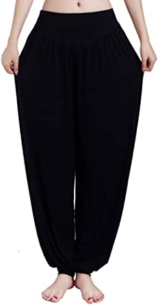 BOZEVON Women Modal Yoga Pants,Plus Size Harem Trousers,Elasticated Waist Bottoms,High Waist Wide Leg Pants for Dancing, Tai Chi