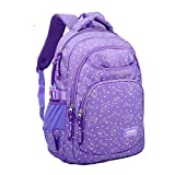 Lalawow Stars Dot Fashion Cute Lovely Daypack, Backpack, Top-Handle Shoulder Bags, Schoolbags With Padded Back For Students Pupil Kids Teenager Girls (#15 Purple)