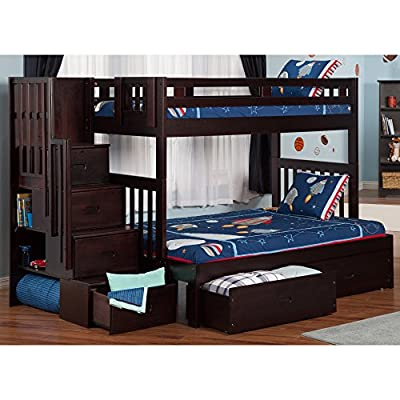 Atlantic Furniture Cascade Staircase Bunk Bed Twin over Full with Drawers in Espresso