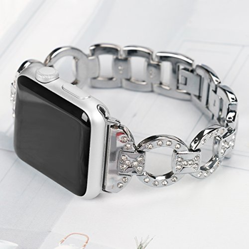 Metal Watch Band for Apple Watch Iwatch Band 42mm Bling Metal Wristband Bracelet for Women Diamond 38mm Apple Watch Band Series 3 2 1 by BONSTRAP (Image #1)