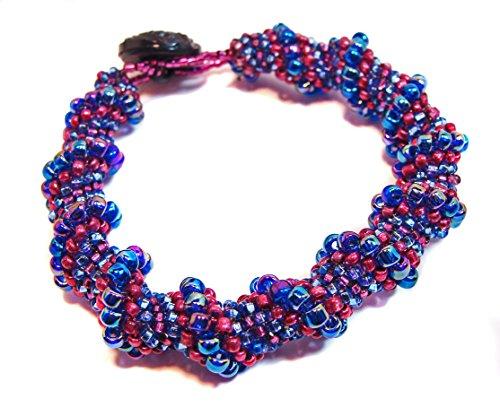 Handmade Beaded Cellini Spiral Bracelet in Blue, Wine, Dark Rose and Magenta Beads