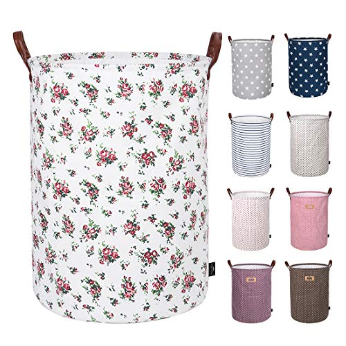 - DOKEHOM 19-Inches Thickened Large Laundry Basket -(9 Colors)- with Durable Leather Handle, Drawstring Waterproof Round Cotton Linen Collapsible Storage Basket (Roses, L)