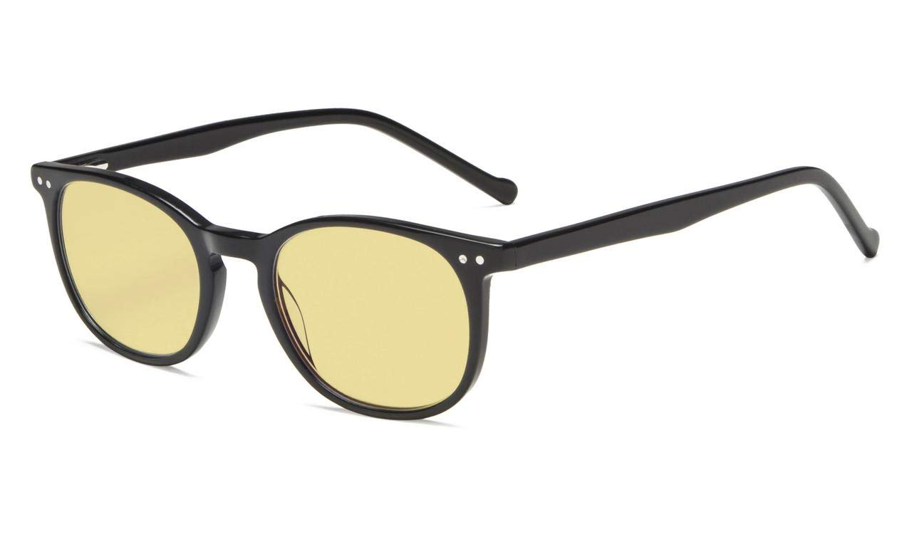 Eyekepper Blue Light Blocking Computer Reading Glasses-Yellow Tinted Lens Readers Black Acetate Frame, 0.50