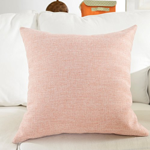 Chenille Bench - HOME BRILLIANT Lined Linen Cushion Cover Square Throw Pillow Case for Sofa/Bench/Couch, Baby Pink, 18