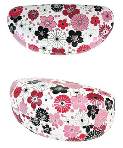 JAVOedge Red Japanese Blossom Pattern Hard Clamshell Sunglass Case / Eyeglass Case and Bonus Microfiber Cleaning Cloth