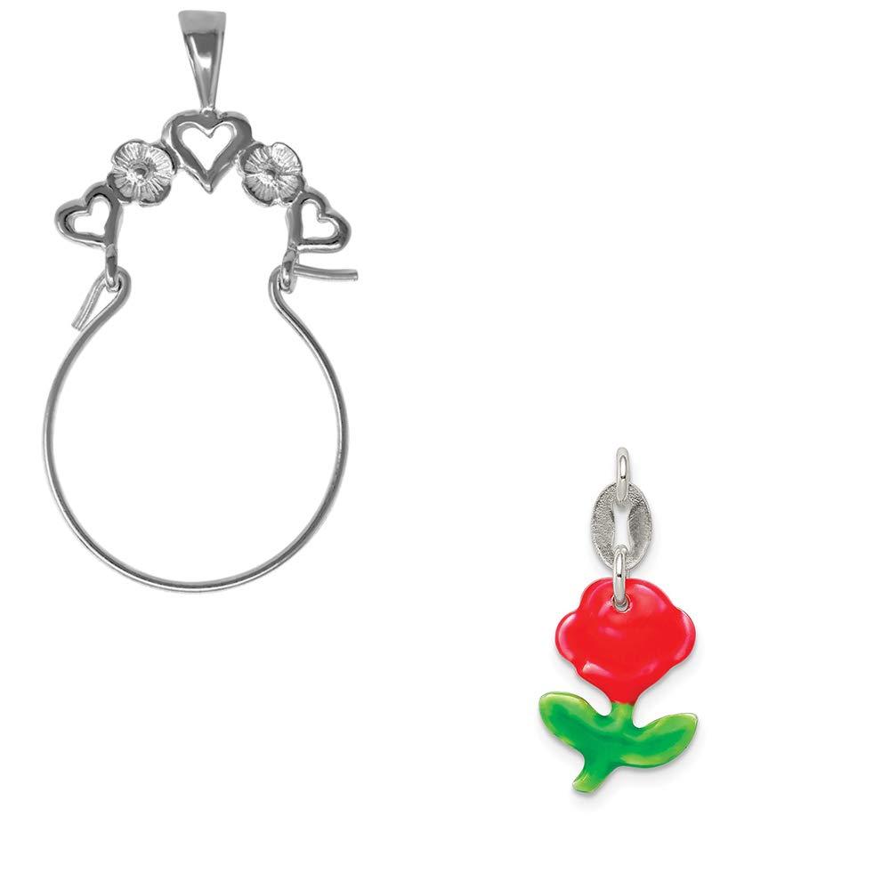 Mireval Sterling Silver Enameled Rose Charm on an Optional Charm Holder
