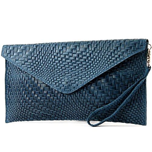 modamoda - Bolso de mujer, diseño exterior trenzado, varios colores azul vaquero