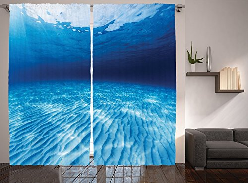 Ocean Decor Collection Underwater Shot of the Curled Sandy Bottom in Andaman Sea Thailand Picture Living Room Bedroom Curtain 2 Panels Set Navy Blue Aqua White