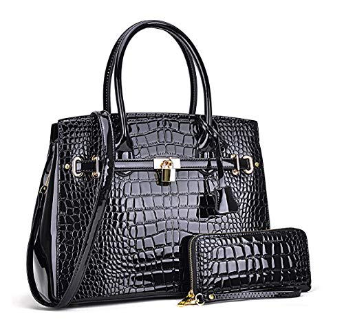 HPW Black Patent Style Alligator Embossed Faux Leather and Wallet Set
