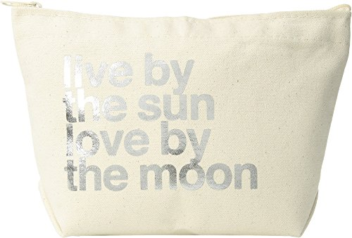 Dogeared Women's Lil Zip, Live By the Moon Natural/Gold One Size - Lil Zip Bag