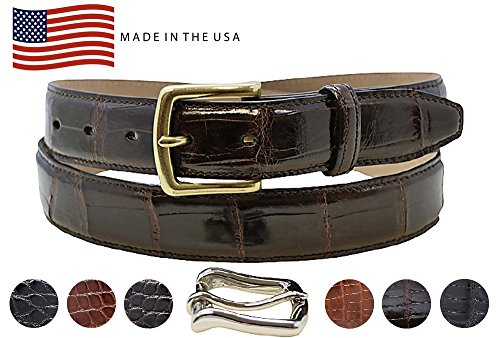 Alligator Dress Belt (Genuine Alligator Dress Belt - American Factory Direct Price - Gold & Silver Buckles Included – Gift for Men - Box – 1.25 inch Wide - Made in USA by Real Leather Creations Tail 38 BRN FBA710)