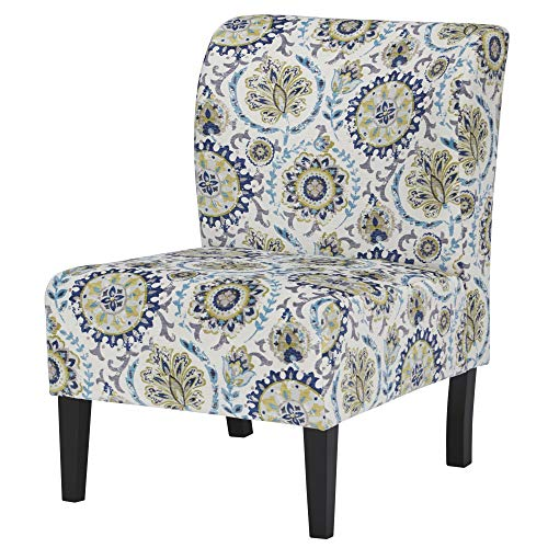 - Ashley Furniture Signature Design - Triptis Accent Chair - Contemporary - Suzani Pattern in Blue/Green/Cream - Dark Brown Legs
