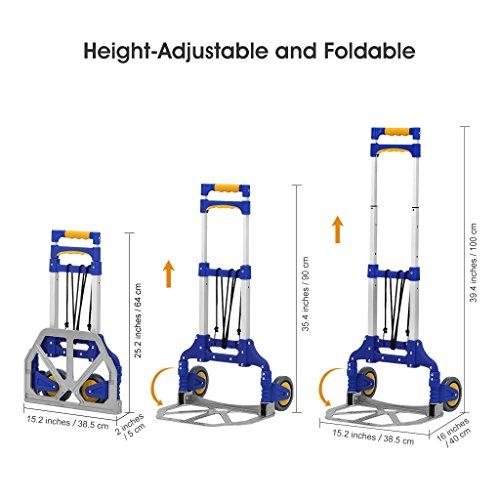 Finether-Diable-Pliable-Multi-Purpose-Rglable-en-Aluminium-Diable-de-Manutention–2-Roues-avec-Cordon-Elastique-Chariot-Diable-Portable-pour-lIntrieur-Extrieur-80-kg-Capacit-Bleu
